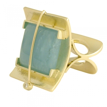 Ring 585 Gold Namibia-Aquamarin Brillant