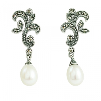 Earrings 925 Sterlingsilver Marcasites Freshwaterpearls