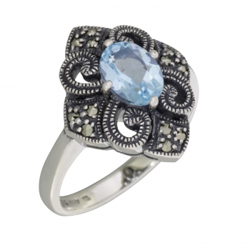 Ring 925 Silver Blue Topaz Marcasites