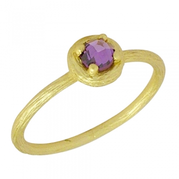 Ring Sterlingsilver goldplated Cubic Zirconia (lilac)