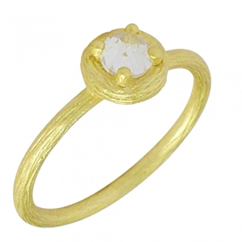 Ring Sterlingsilver goldplated Cubic Zirconia