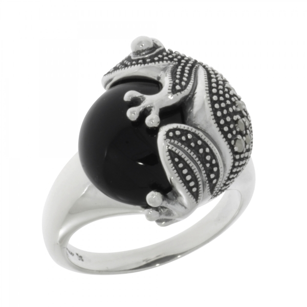 esse marcasite - Froschring 925 Silber Onyx Markasite