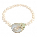 Necklace Brooch 14 kt. gold pearls