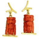 Earrings Owls 14 kt. gold Corals
