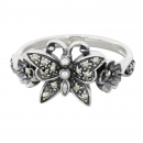 Ring 925 Silber Schmetterling Markasite - 56