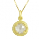 Pendant with chain Sterlingsilver goldplated Cubic Zirconia